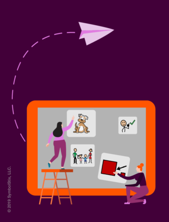 Illustration with people in front of a big iPad pointing at symbols and a big arrow coming