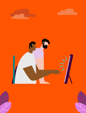 Illustration with two persons looking at a screen, the closest one points at the screen.