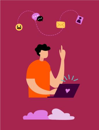 Illustration of a person behind a laptop pointing up to an emoticon and other icons