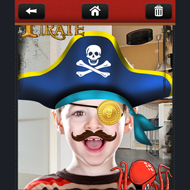 Boy with pirate outfit on make me a pirate phone app