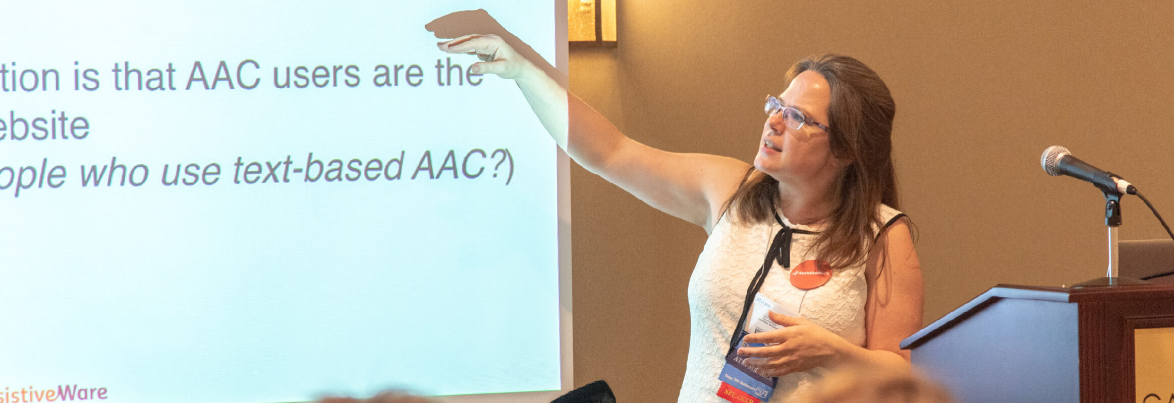 Angelman UK Conference woman presenting on AAC