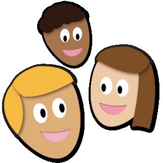 Caricaturas de tres personas