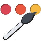 Paleta de colores con brocha