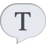 Illustratie van een spraakballon met een hoofdletter t
