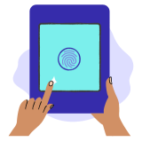 Icon of an iPad hold by hands with a fingerprint sign on it