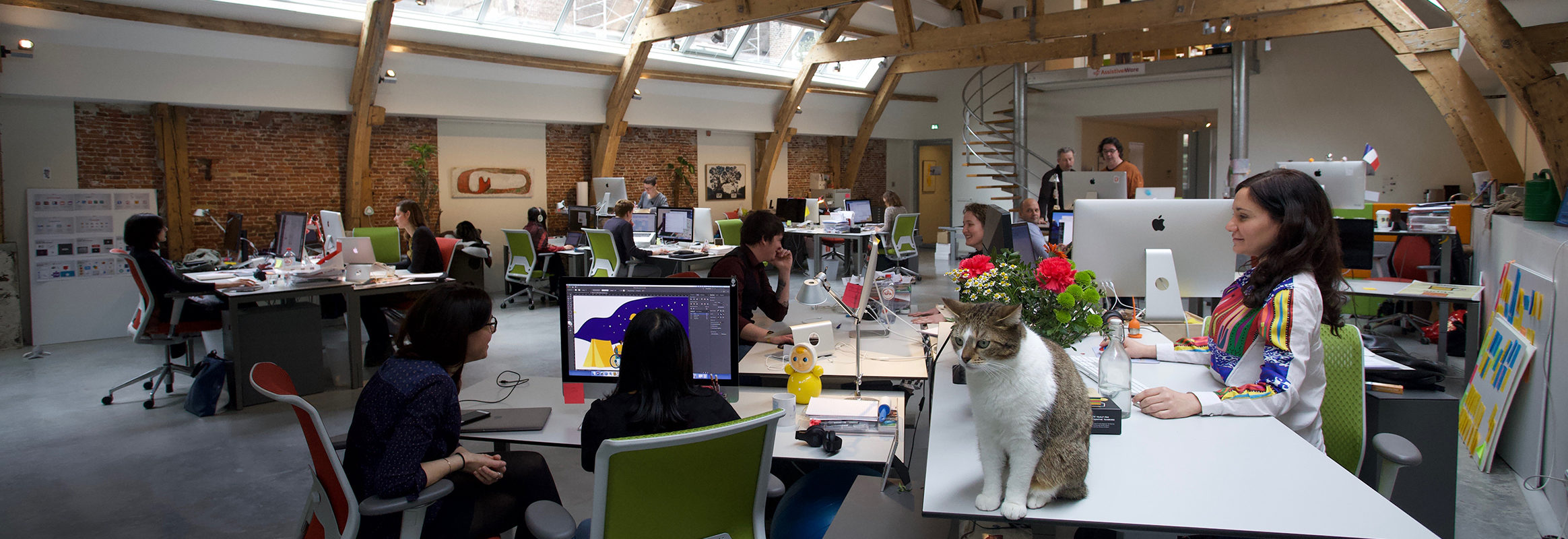 AssistiveWare's spacious office in daylight entering through skylights. People are sitting and standing at desks. Starsky, one of the two office cats, sits prominently on the table closest to the camera.
