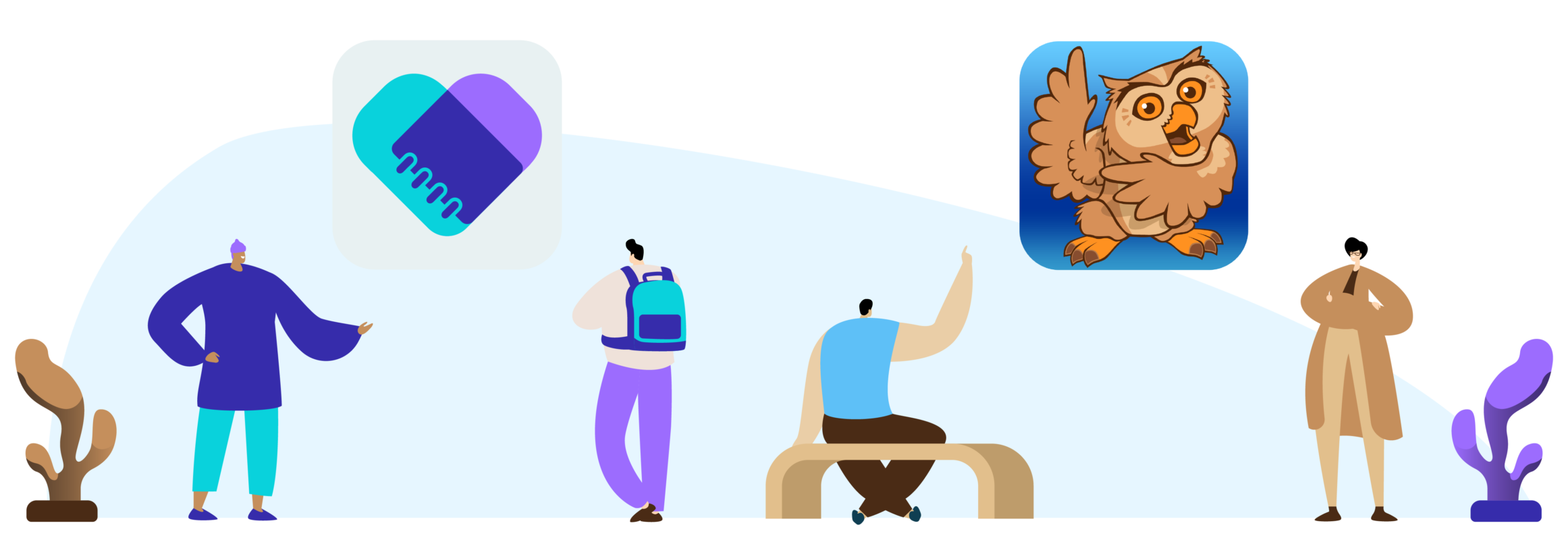 Illustration of Proloquo2Go and simPODD icons in the air and people looking at both