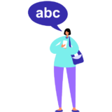 Icon of a person with a speech balloon