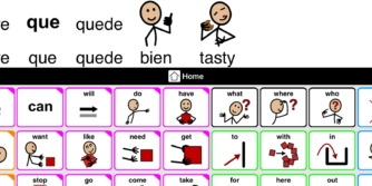 Proloquo2Go with a Spanish and English message in the window