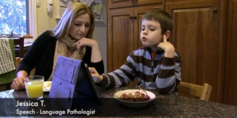 Max, a young boy, sits with his therapist who explains why Proloquo2Go was better for him than PECS